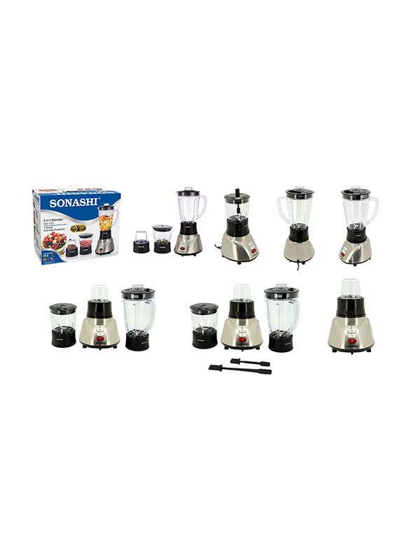 Sonashi 3 in 1 1.6L Electric Blender, 400W, SB 160, Silver