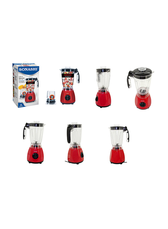 Sonashi 2 in 1 1.5L Electric Blender, with Unbreakable Jar and Mill, 300/350W, SB 144, Red