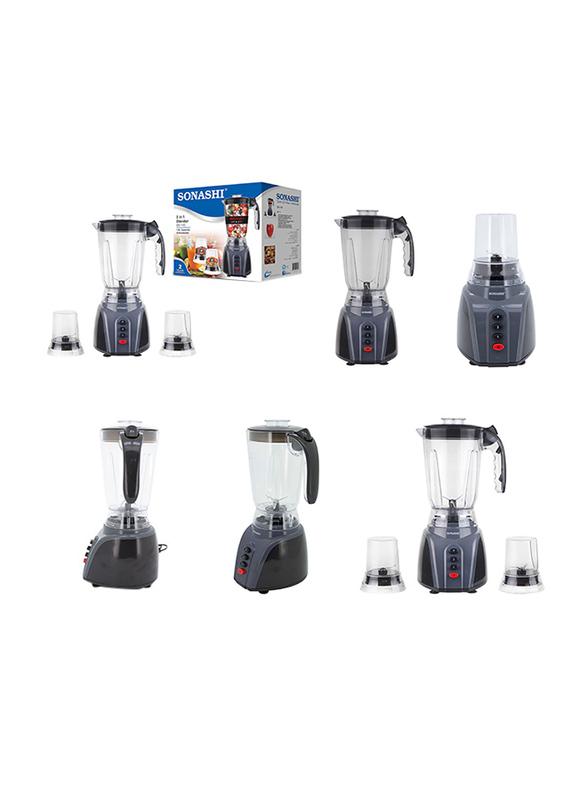 Sonashi 3 in 1 1.5L Electric Blender, with Unbreakable Jar and Mill, 300/350W, SB 145, Grey/Black