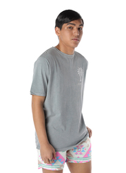 Nikben Palm Logo Short Sleeve T-Shirt for Men, Medium, Grey