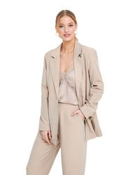 NA-KD Long Sleeves Boxy Blazer for Women, 36 EU, Beige