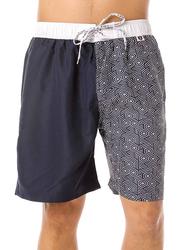 Scipo Waves Drawstring Shorts for Men, Medium, Navy Blue