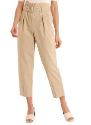 NA-KD Belted Paper Bag Pants for Women, 32 EU, Beige