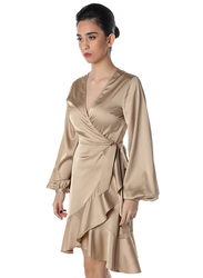 NA-KD Satin Overlap Mini Dress, 38 EU, Beige