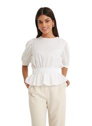 NA-KD Smocked Waist Linen Blend Blouse for Women, 34 EU, White