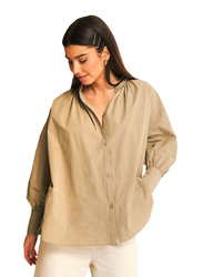 NA-KD Strap Tie Neck Shirt for Women, Extra Large, Beige