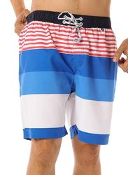 Scipo Stripes Drawstring Shorts for Men, Large, Blue