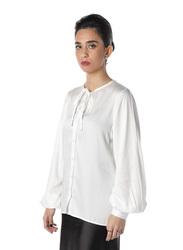 NA-KD Tie Band Long Sleeve Shirt for Women, 36 EU, White