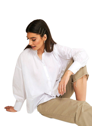NA-KD Strap Tie Neck Shirt for Women, Extra Large, White