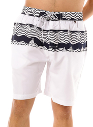Scipo Yatch Drawstring Shorts for Men, Medium, White