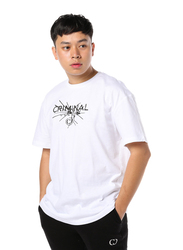 Criminal Damage Smash Short Sleeves T-Shirt for Men, Medium, White