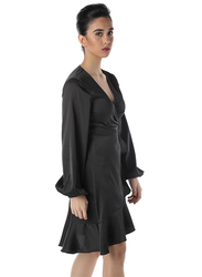 NA-KD Satin Overlap Mini Dress, 38 EU, Black