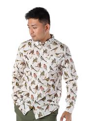 Dedicated Varberg Autumn Birds Long Sleeves Shirt for Men, Medium, Off White