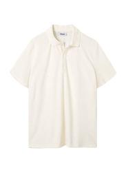 Nikben Terry Riviera Cannoli Short Sleeve Polo Shirt for Men, Medium, Cream