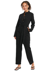 NA-KD Cotton Long Sleeve Collared Neck Cargo Jumpsuit for Women, 40 EU, Black