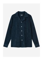 Nikben Terry Bowling Long Sleeve Stockholm Polo Shirt for Men, Medium, Navy Blue