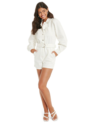 NA-KD Cotton Puff Long Sleeve Collared Neck Denim Playsuit for Women, 40 EU, Off White