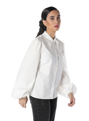 NA-KD Balloon Sleeve Shirt for Women, 36 EU, Off White