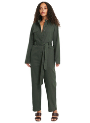 NA-KD Cotton Long Sleeve Collared Neck Cargo Jumpsuit for Women, 40 EU, Khaki