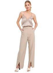 NA-KD Oversize Front Slit Suit Pants for Women, 34 EU, Beige