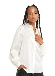 NA-KD Hidden Button Long Sleeves Shirt for Women, 36 EU, Off White
