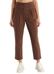 NA-KD Belted Paper Bag Pants for Women, 32 EU, Brown