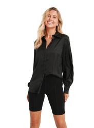 NA-KD Hidden Button Long Sleeves Shirt for Women, 36 EU, Black