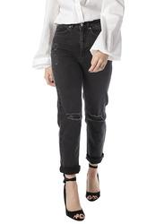 NA-KD High Waist Straight Destroyed Jeans for Women, 38 EU, Black