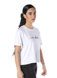 NA-KD Short Sleeve Cropped T-Shirt for Women, Small, White