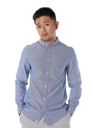 Dedicated Varberg Chambray Long Sleeves Shirt for Men, Small, Blue