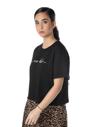 NA-KD Short Sleeve Cropped T-Shirt for Women, Small, Black