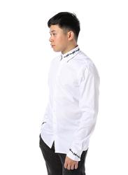 Criminal Damage Barb Emb Long Sleeves Shirt for Men, Small, White