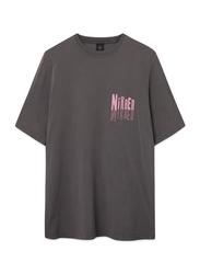 Nikben Logo Short Sleeve T-Shirt for Men, Large, Grey