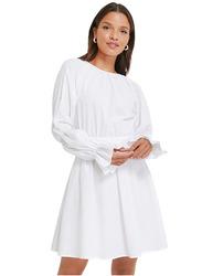 NA-KD Seersucker Open Back Dress, 36 EU, White