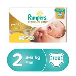 Pampers Premium Care Diapers, Size 2, Mini, 3-6 kg, Mega Box, 108 Count