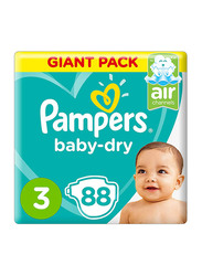 Pampers Baby Dry Diapers, Size 3, Medium, 5-9 kg, Giant Pack, 88 Count