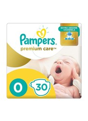 Pampers Premium Care Diapers, Size 0, Newborn, 2.5+ kg, Carry Pack, 30 Count