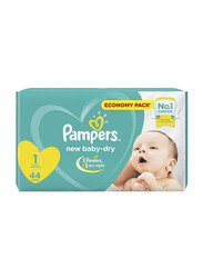 Pampers New Baby Dry Diapers, Size 1, Newborn, 2-5 kg, Economy Pack, Pack of 2, 88 Count
