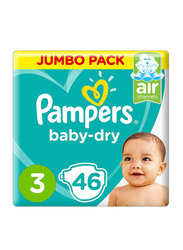 Pampers New Baby Dry Diapers, Size 3, Midi, 6-10 kg, Jumbo Pack, 46 Count