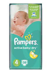 Pampers Active Baby Dry Diapers, Size 4, 8-14 kg, Value Pack, Pack of 3, 174 Count