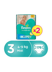 Pampers Active Baby Dry Diapers, Size 3, Midi, 4-9 kg, Mega Pack, Pack of 2, 176 Count
