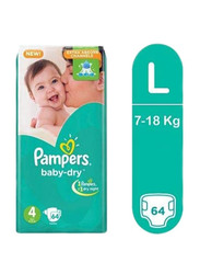 Pampers Baby Dry Diapers, Size 4, 7-18 kg, Jumbo Pack, 64 Count