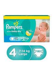 Pampers New Baby Dry Diapers, Size 4, Large, 7-14 kg, Value Pack, Pack of 3, 132 Count