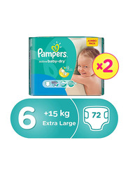 Pampers Active Baby Dry Diapers, Size 6, 15+ kg, Jumbo Pack, Pack of 2, 72 Count