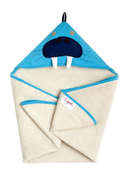 3 Sprouts Walrus Hooded Towel, Blue