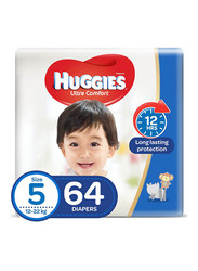 Huggies Ultra Comfort Superflex Jumbo Diapers, Size 5, 12-22 kg, 64 Count