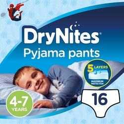 DryNites Pyjama Pants Boy Diapers, 4-7 Years, 17-30 kg, Jumbo Pack, 16 Count