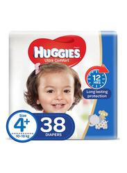 Huggies Ultra Comfort Superflex Economy Diapers, Size 4+, 10-16 kg, 38 Count