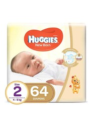 Huggies New Born Diapers, Size 2, Newborn, 4-6 kg, Carry Pack, 64 Count