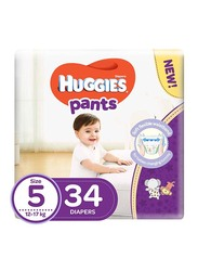 Huggies Active Baby Pants Diapers, Size 5, 12-17 kg, 34 Count